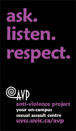AVP card: ask. listen. respect.