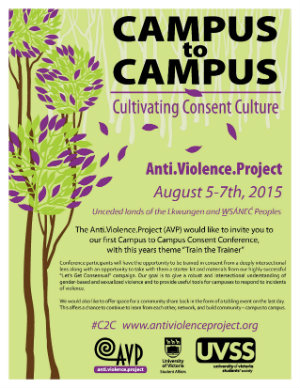 Poster with information for AVP's Campus to Campus: Cultivating Consent Culture Conference