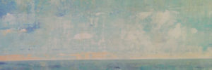 A modern abstract painting representing the horizon, the future, and the future we're seeking.
