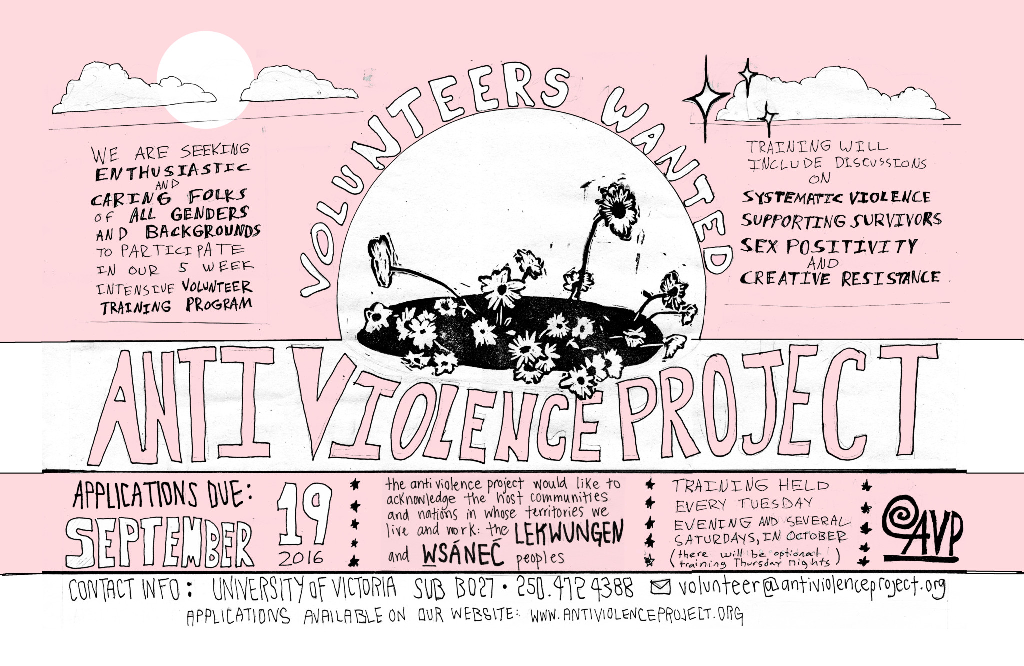 """a pink and white poster with black hand-drawn flowers in the middle. The poster reads """"We are seeking enthusiastic and caring folks of all genders and backgrounds to participate in our 5 week intensive volunteer training program. Training will include discussion on systemic violence, supporting survivors, sex positivity, and creative resistance. Applications Due Sept 19, 2016."""