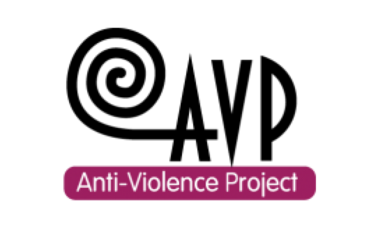 "AVP's logo - ""AVP"" in black text and ""Anti-Violence Project"" in white with a purple background below"