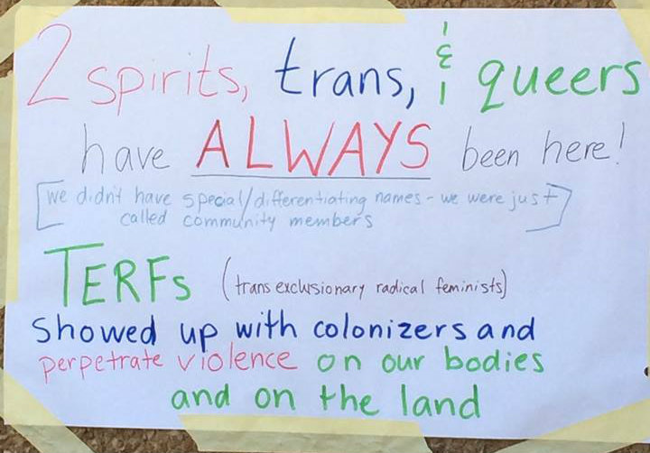2 spirit, trans & queers have ALWAYS lived here: note