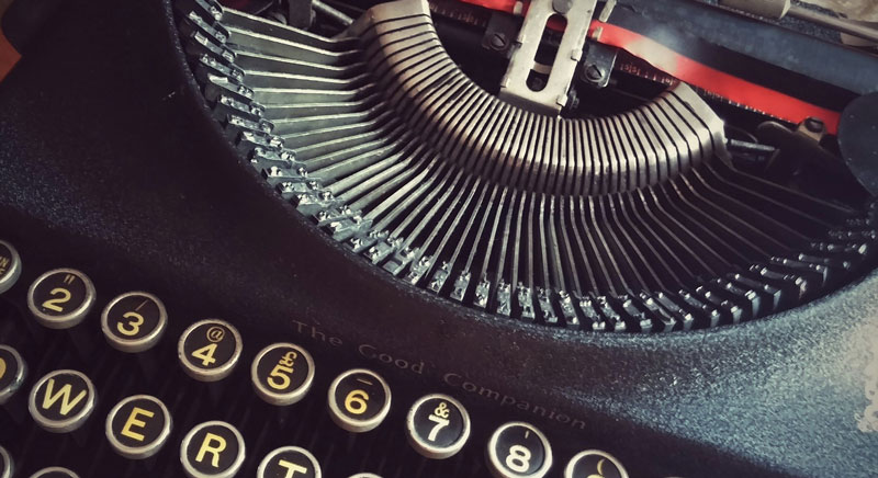 A close up of a very stylish looking typewriter