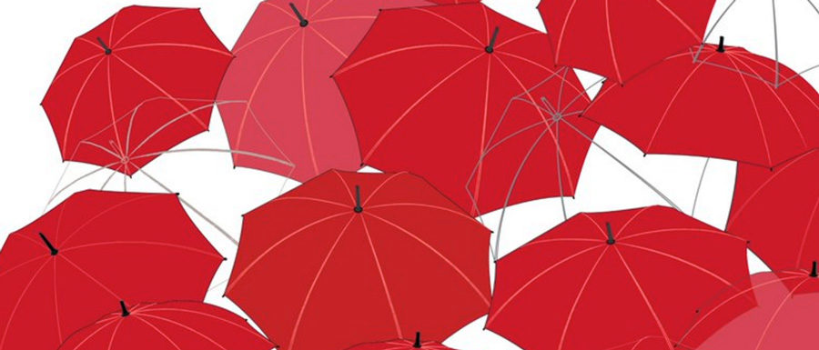 The red umbrellas of the red umbrella march