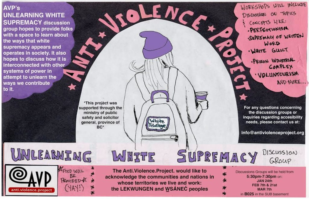 Undoing white supremacy discussion group poster
