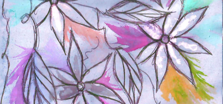 a sketch of three flowers with pointed petals. The background is a soft purple, there are bright leaves of pink, salmon, and yellow surrounding the flowers. This image is taken from the front cover of the healing zine.