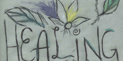 """the front cover of the healing zine. a grey-green background with drawings of flowers and leaves poking out like a sunset from the words """"healing"""""""