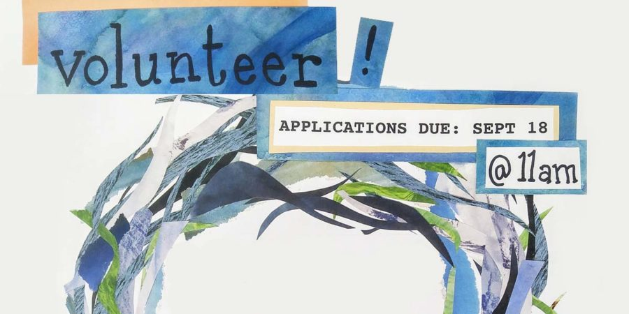 """Text in blue boxes that reads """"Volunteer! Applications due Sept 18 at 11 am"""", with a half-circle of wavy blue and green seaweed-like fronds."""