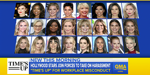 "Screenshot of ABC news story on launch of ""Time's Up"" campaign, from Time's Up website https://www.timesupnow.com. Image shows faces of Hollywood actresses behind the launch of the campaign."