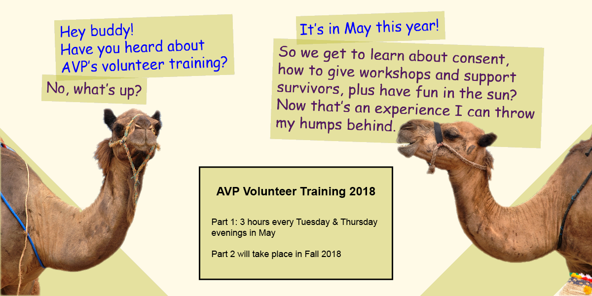 Image of 2 camels inviting people to attend Volunteer Training.