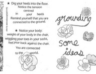"Images from collaged AVP zine on grounding. On the right half of the image is line drawings of flowers with the text ""grounding: some ideas"". On the left half of the page is text with ideas for ways to feel grounded."