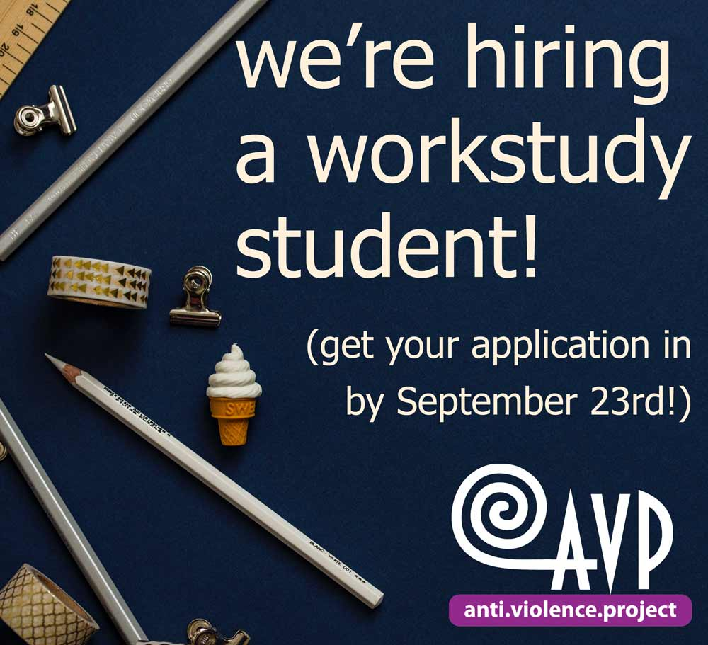 "Image of blue desk with the text: ""We're hiring a workstudy student! (Get your applications in by September twenty-third."
