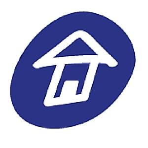Logo of the Victoria Women's Transition House: A white house in a blue circle