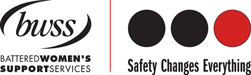 Logo of Battered Women's Support Services, followed by three circles and the text: Safety Changes Everything