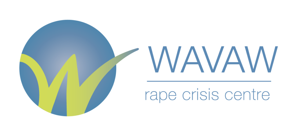 "Logo of the WAVAW rape crisis centre: A green ""W"" on a blue background."