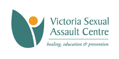 "Logo of the Victoria Sexual Assault Centre: Green and yellow abstract shapes, with the text ""healing, education & prevention."""