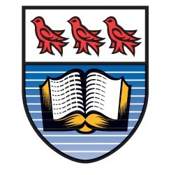 UVic crest: A shield with three red birds over an open book on a blue background.