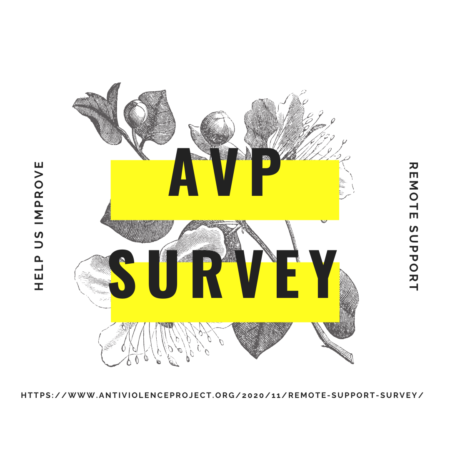 "Yellow rectangles with the text ""AVP survey - Help us improve remote support"" over black and white flowers."