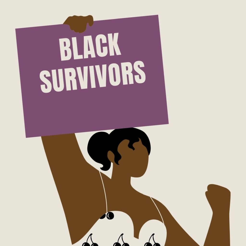 """A Black person wearing a white tank top holding a purple sign that says """"Black Survivors""""."""