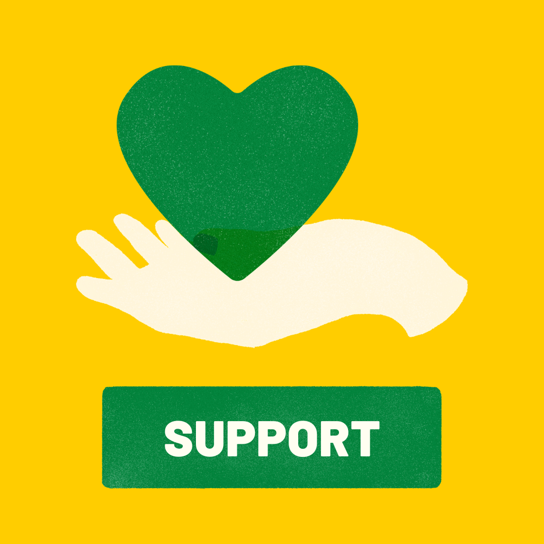 """A hand holding a green heart below the word """"support"""" is written out."""